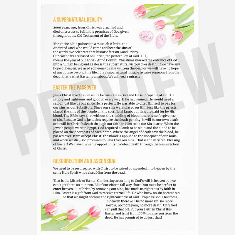 Interior preview of The Miracle of Easter Christian Tract | Share The Gift — Free Christian Tracts and Printed Christian Tracts